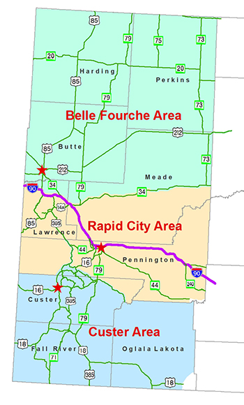 Rapid City Region Map